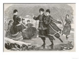 German Girls Skating in Appropriate Costume Giclee Print