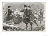 German Girls Skating in Appropriate Costume Giclee Print