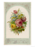 Decorative Arrangement of Roses with Other Flowers Reproduction procédé giclée