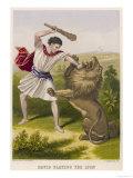 David Slays the Lion Giclee Print