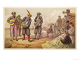 Three Brightly Dressed Minstrels Entertain a Group of Holidaymakers on a Beach Giclee Print