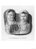 "Emperor Constantinus I Known as ""The Great"" with His Wife Flavia Giclee Print"