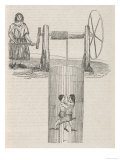 Two Children are Lowered Down the Mine-Shaft to the Coal- Face by a Woman Working a Winch Giclee Print