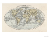 World Map of the Ocean Currents Giclee Print