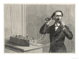 Using Bell&#39;s Original Telephone Apparatus Giclee Print