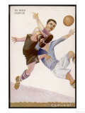 Defender Successfully Clears the Ball out of Danger Reproduction giclée Premium