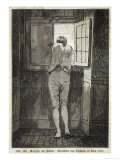 Johann Wolfgang Von Goethe in Rome in 1787 Looking out of the Window in a Relaxed Mood Premium Giclee Print