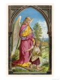 Guardian Angel Watches Over a Small Child as It Gathers Flowers in the German Countryside Giclee Print