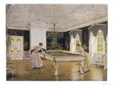 Two Ladies Play in an Elegant Billiard-Room Giclee Print