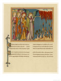 The Seven Angels Blow Their Trumpets Fire Falls from the Sky, from a French Manuscript Giclee Print