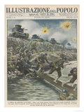 Japanese Infantry Advance on Nanking Under Cover of Bombardment from Their Tanks Giclee Print