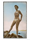 Girl in Stripy Bikini with a Strpless Bra-Top Poses on the Rocks Giclee Print