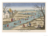 Sledging Skating, and Falling, on the Glaciere at Gentilly Outside Paris Giclee Print