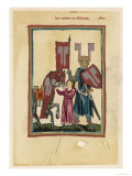 Knight in Battle Gear Holds His Standard While a Page Attends to His Horse Giclee Print