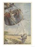 Cinq Semaines dans Un Ballon, Towed by an Elephant Giclee Print