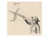 "Sailor Uses a ""Jacob's Staff"" to Calculate the Angle Between a Star and the Horizon Giclee Print"