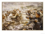 Belgian Infantry Fight off an Attack by German Forces at Liege Giclee Print