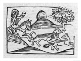 """""""Of the Fox and the Cat"""" Illustration to Caxton's 1484 Edition of Aesop's Fables Giclee Print"""