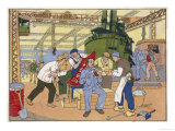 An Industrious Worker in a Factory is Rewarded with a Flag Giclee Print