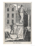 Bricklayer Standing on a Rather Precarious Looking Scaffold, His Assistant Mixes Mortar Behind Him Giclee Print