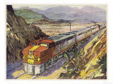 Train of the Santa Fe Railroad Drawn by a Diesel- Electric Locomotive Giclee Print