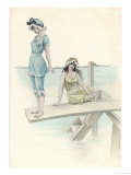 Two Girls in Bathing Suits One About to Dive into the Sea from a Diving Board Giclee Print