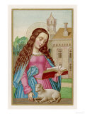 Saint Agnes Reading a Book While a Very Small Lamb Rests Beside Her Giclee Print