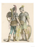 Two Foot Soldiers with Ornamented Helmets and Shields One with a Curved Horn Giclee Print