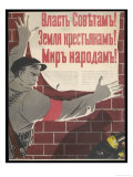 Big Brave Communist Worker Fixes a Poster on a Wall Lámina giclée