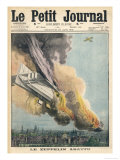 Lieutenant Warneford Shoots Down the First Zeppelin of the War Over Ghent Giclee Print