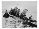 Scuttled German Destroyer at Scapa Flow Giclee Print