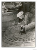 Chipping out the Cutting Edges (Dressing) a Millstone at the Old Flour Mill at Ewell Surrey Giclee Print