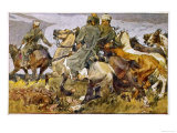 German Infantryman Franz Weber Heroically Captures Five Horses from Cossacks Giclee Print