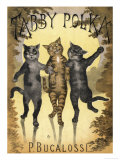 Tabby Polka a Trio of Cats with Arms Linked Dance a Polka by Moonlight Giclee Print