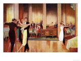 Four Couples Take Advantage of the Dance-Floor in a Smart Restaurant Giclee Print
