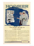 Still Wearing Her Wedding Dress a Bride Admires the Hoosier Kitchen Cabinet Giclee Print