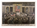 American President Woodrow Wilson Asks Congress to Declare War Giclee Print