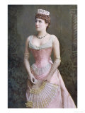 Lily Langtry English Actress in a Pink Evening Dress and Tiara Holding an Elegant Fan Giclee Print