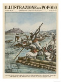 Allies of the Italians Use Rafts to Cross Crocodile- Infested Waters Giclee Print