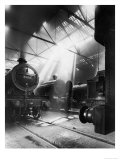 Express Locomotives Stabled in the Engine Sheds at Euston Station Giclee Print