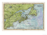 Map of the East Coast of North America from New York to Newfoundland Giclee Print