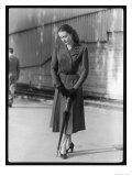 Belted Dress and Umbrella Premium Giclee Print