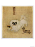 White Pekingese Dog and Puppies as Depicted in an Imperial Dog Book Giclee Print