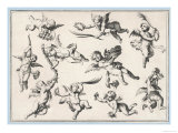 Selection of Cherubs in Various Positions Giclee Print