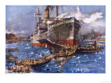 At V-Beach, Cape Helles, The Converted Steamer River Clyde Lands British Troops Giclee Print
