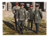 Manfred Von Richthofen German Aviator During the First World War with Colleagues Giclee Print