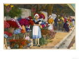 Girl on a Flower Market on the Cote d'Azur Giclee Print