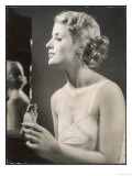 Lady in Her Slip Putting on Her Perfume Before Dressing Giclee Print