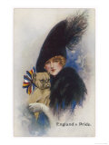 """England's Pride"" a Girl with Her Patriotic Bulldog Giclee Print"