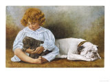 Little Girl Sits with a White Bulldog and Cuddles a Puppy Giclee Print